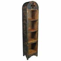 Painted Wood Domed Skinny Bookcase - Black