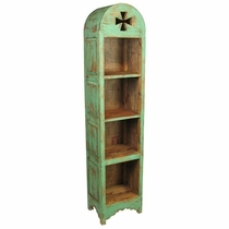 Painted Wood Domed Skinny Bookcase - Green