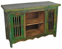 Painted Wood Entertainment Console/Buffet Green