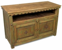 Painted Wood Entertainment Console - Green Wash
