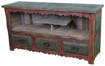 Painted Wood Entertainment Console with Pedestal Shelf