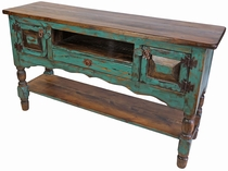 Painted Wood Entertainment Console with Turned Legs - Green