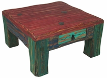 Painted Wood Etched Leg Coffee Table