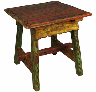 Painted Wood Etched Ranch Style End Table - Ranch style table