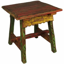Painted Wood Etched Ranch Style End Table