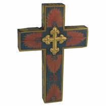 Painted Wood Mexican Cross with Tin Cross