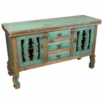 Painted Wood Ox Yoke Buffet - Green and Natural Finish