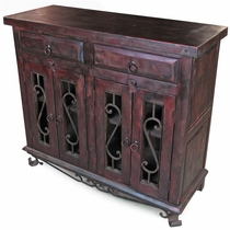 Painted Wood Rustic Sideboard with Iron Base and Scroll Doors