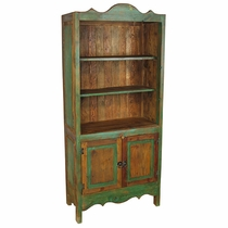 Painted Wood Santa Fe Bookcase with Doors