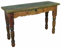 Painted Wood Sofa Table with Drawer Green Top