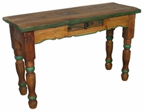 Painted Wood Sofa Table with Drawer Natural Top