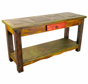 Painted wood sofa table with slate watchthetrailerfo