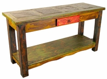 Painted Wood Sofa Table with Slate