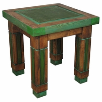 Painted Wood Square Grooved Leg End Table