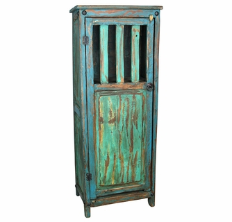 Painted Wood Storage Cabinet - Turquoise u0026 Blue  sc 1 st  Direct From Mexico & Rustic Painted Wood Storage Cabinet - Turquoise and Blue
