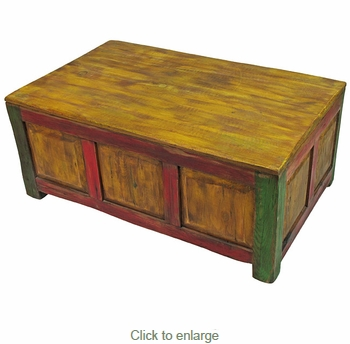 Painted Wood Storage Coffee Table Distressed Multi Color