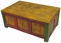 Painted Wood Storage Coffee Table - Distressed Multi-Color