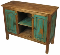 Painted Wood Turquoise Entertainment Console