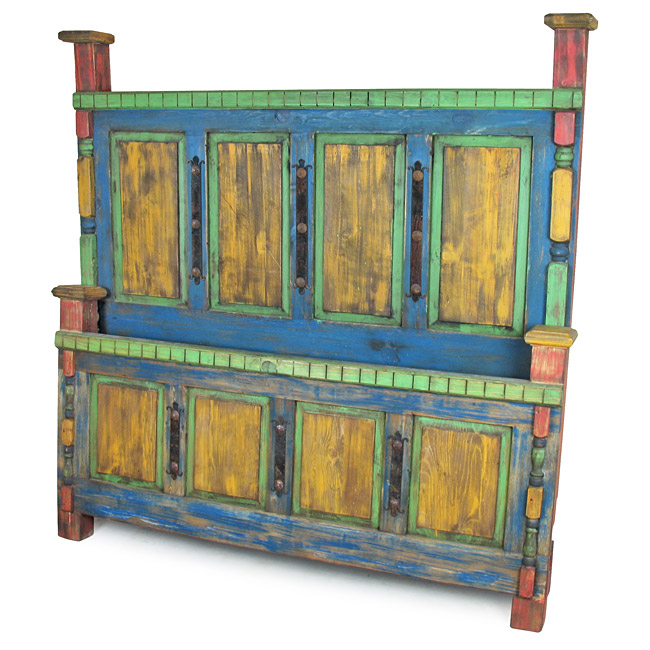 Rustic Mexican Painted Wood Bed
