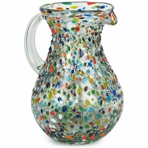 Pear Shaped Handblown Pebbled Confetti Glass Pitcher
