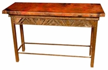 Petroglyph Console Table - Cobre Antiguo Copper