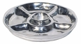 Pewter Appetizer Platter with 4 Sections and Dip Bowl