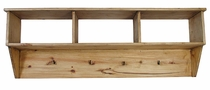 Pine Entry Way Hanging Shelf with Hooks
