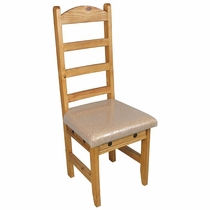 Pine Rustic Dining Chair with Cushion Seat