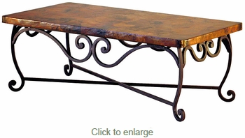 Pio Iron Base Coffee Table with Copper Top - 48