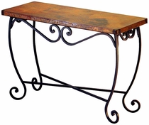 Pio Iron Base Console Table with Copper Top
