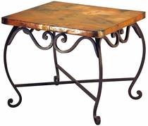 Pio Iron Base End Table with Copper Top