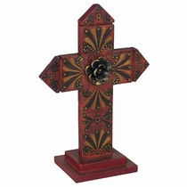 Pointed Painted Wood Folk Art Cross with Base