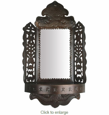 Punched Border Mirror with Shelf