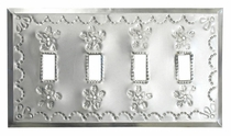 Punched Natural Tin Quad Switch Plate - Star