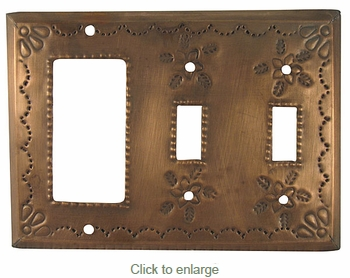 Punched Tin Double Switch and Rocker Cover - Star