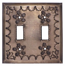 Punched Tin Double Switch Plate - Star