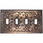 Quad Rustic Tin Switch Plate - Flower