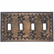 Quadruple Decorative Tin Switch Plate -Star