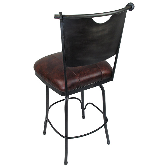 sc 1 st  Direct From Mexico & Set of 2 Raymond Wrought Iron Bar Stools - Leather Padded Swivel Seat islam-shia.org