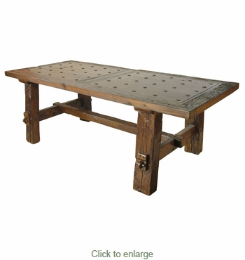 Reclaimed wood rustic dining table with nailheads Rustic wood dining table