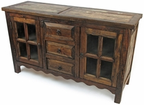 Reclaimed Wood Rustic Sideboard With Glass Doors
