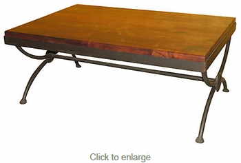 Rectangular Mesquite Coffee Table With Iron Base