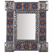 "Natural Tin & Mexican Tile Mirror - Small Rectangular - 11.25"" x 13.25"""