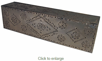 Rectangular Punched Aged Tin Vanity Light Fixture