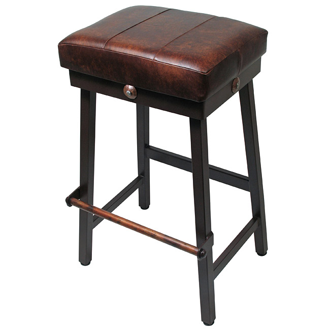 Rectangular Wrought Iron Bar Stool Leather Padded Seat