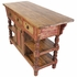 Red Accent Turned Leg Rustic Wood Kitchen Island with Drawers
