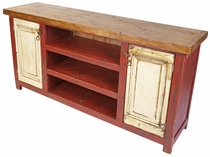 Red and White 2 Door Entertainment Console with Natural Top