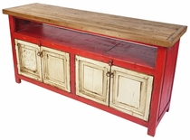 Red  and White Entertainment Console with Natural Top and 4 Doors