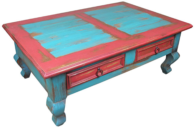 Red Blue Painted Wood Southwest Coffee Table