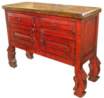 Red Chiro TV Stand with Ox Yoke Carved Legs